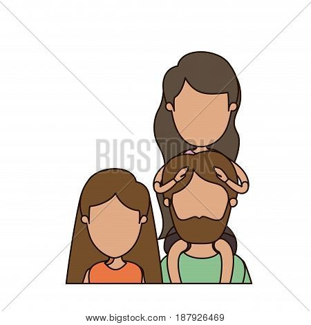 colorful caricature faceless front view half body family parents with girl on his back vector illustration
