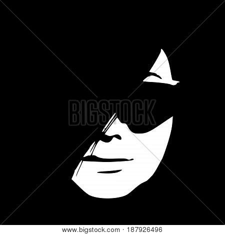 Portrait of beautiful woman in black sunglasses. Vector version. Front view