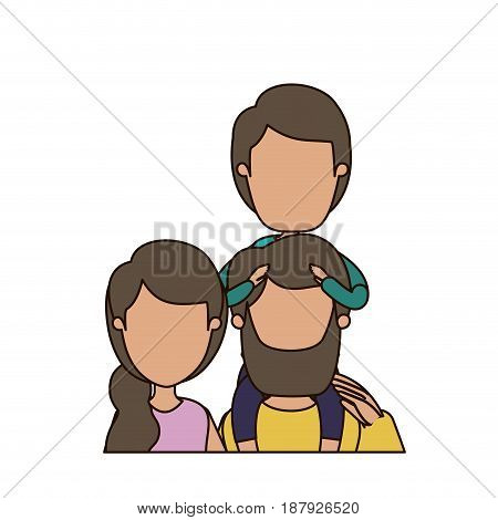 colorful caricature faceless front view half body family parents with boy on his back vector illustration