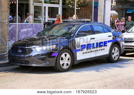 Charleston, SC, USA - 09/10/2016: Charleston Police cruiser parked on King Street in Charleston SC