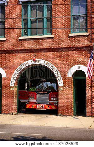 Charleston, SC, USA - 09/10/2016: Charleston Fire Department house on Meeting Street SC