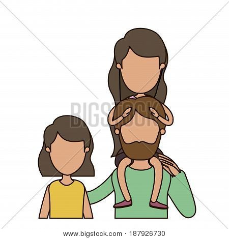 colorful caricature faceless front view half body family with short hair woman and bearded man with girl on his back vector illustration