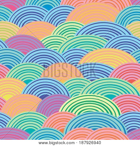 Multi-colored semicircles. Spiral line. Festive cheerful background. Seamless vector pattern