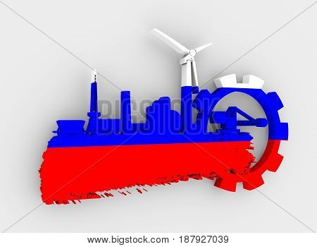 Energy and Power icons set and grunge brush stroke. Energy generation and heavy industry relative image. Flag of the Russia. 3D rendering