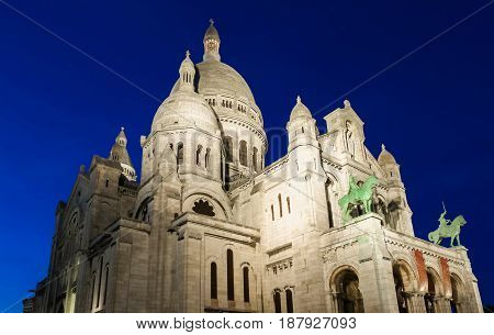 The Famous Sacre Coeur Cathedral at night Paris, France