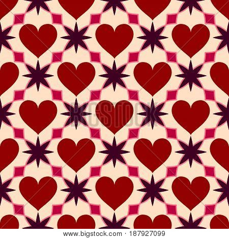 Heart seamless geometric pattern. Valentines Day love background. Vector illustration