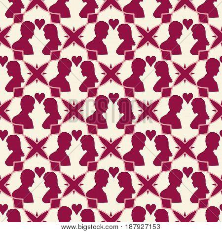 Love seamless geometric pattern. Valentine day background. Vector illustration