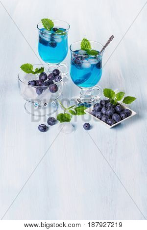 Alcoholic cocktail with blueberries and mint. Space for text