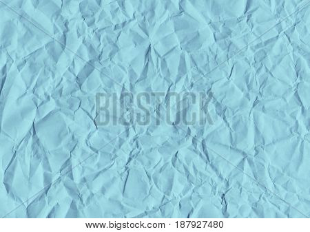 Blue texture background of a crumpled paper