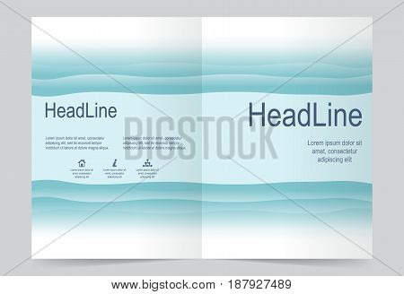 Sea Blue Cover template background flyer design. Abstract template for annual business report poster