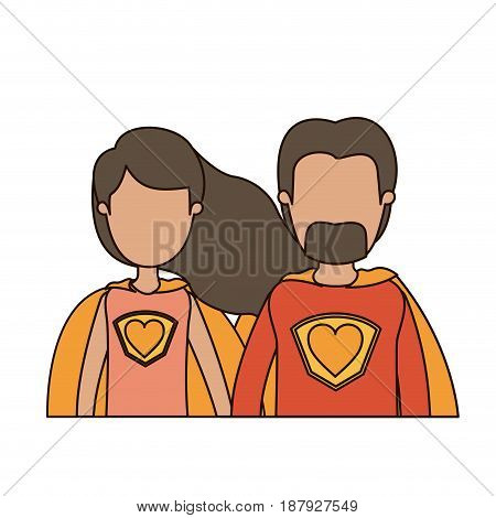 colorful caricature faceless half body couple super hero with heart symbol in uniform vector illustration