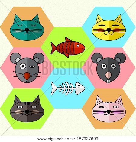 Set of Flat different Emotional faces of cats and mice. Flat icons skeleton fish and magic fish . Vector illustration