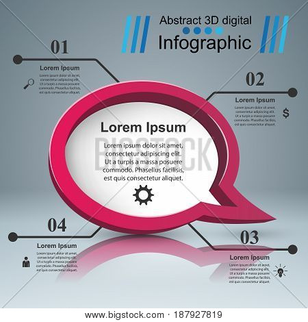 Speech bubl icon. Dialog box info. Abstract infographic. Marketing info
