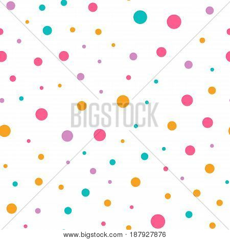 Cute circle seamless pattern on white background. Vector illustration for bright happy design. Light color. Round dot shape. Random size spot Art decorative wallpaper Pack of random circle shape