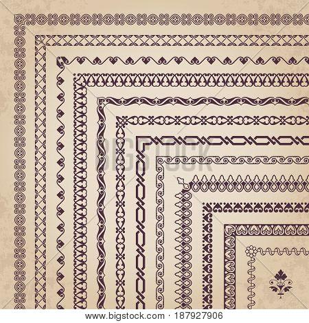 Vector set of decorative corner borders and frames