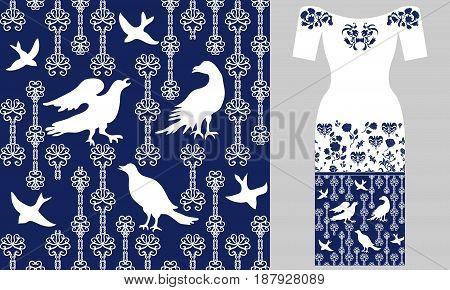Party dress design. Retro textile design collection.