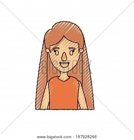 color crayon stripe caricature half body woman with long straight hair vector illustration