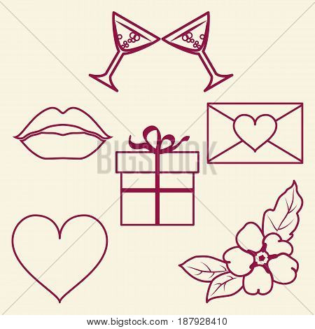 St. Valentine Day collection of line signs. Vector illustration