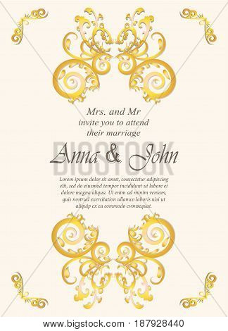 Wedding card Invitation card with ornamental on ivory background