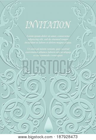 Invitation card wedding card with ornamental on green background