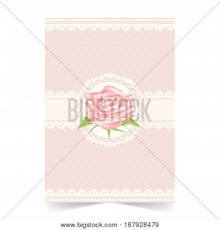 Invitation card wedding card with rose on soft pink background