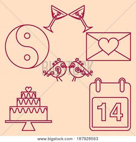 Set valentines day design outline emblems. Vector illustration
