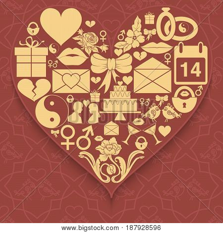 Set valentines day icons compiled in shape of heart on patterned background. Vector illustration
