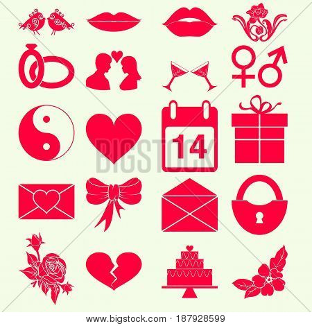 Set valentines day holiday icon monochrome red color isolated. Vector illustration