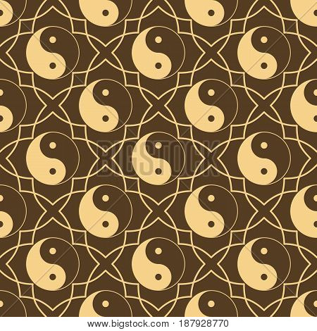 Seamless pattern with sign yin yang. Sample design for mens gift wrapping for Valentines Day. Vector illustration