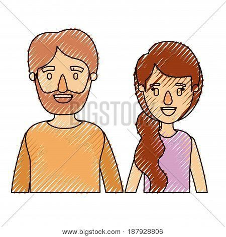 color crayon stripe caricature half body couple woman with ponytail side hair and bearded man vector illustration