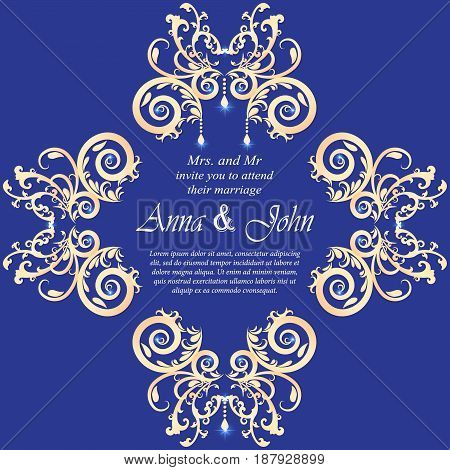 Wedding card Invitation card with ornamental on Blue background