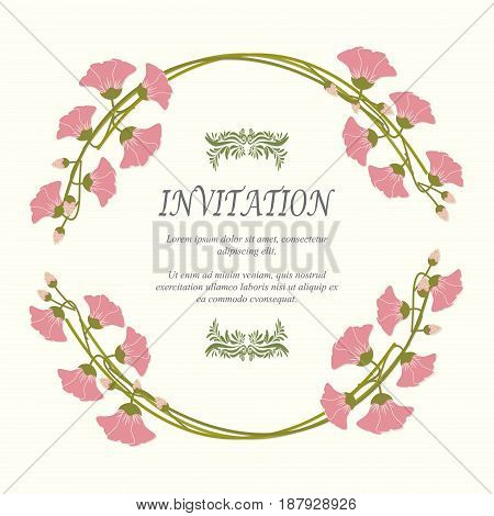Invitation card wedding card with flowers in spring time on ivory background