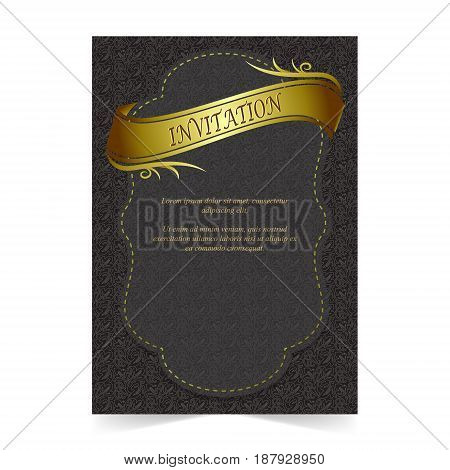 Invitation card Wedding card with ribbon and leaf pattern on dark background