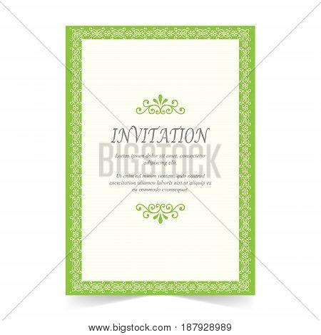Invitation card Wedding card with ornament on green and ivory background