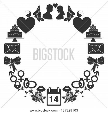 Valentines Day round frame of the icons. Set of monochrome signs in a ring shape. Vector illustration