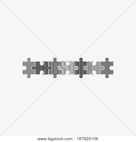 Jigsaw puzzle vector, blank simple template seven elements