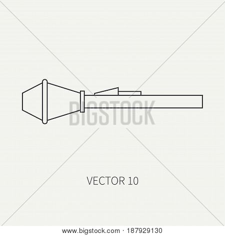 Line flat vector military icon - grenade launcher. Army equipment and weapons. Cartoon style. Army. Assault. Soldiers. Armament. Ammunition.Vector illustration and element for your design , wallpaper.
