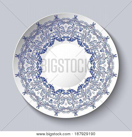 Souvenir porcelain plate with a blue floral pattern. Vector illustration
