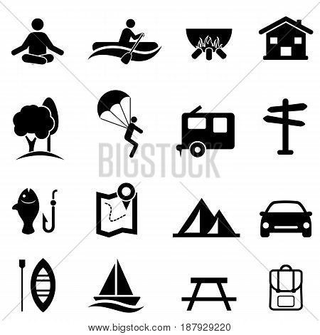 Outdoor recreational activities camping and leisure icon set