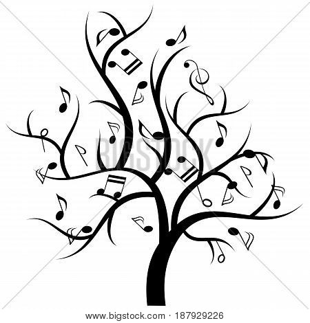 Music notes hanging on musical tree illustration