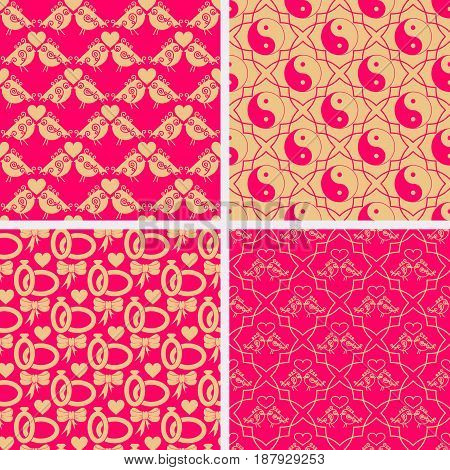 Valentine Day set of seamless patterns. Ornate pink with gold pattern. Vector illustration