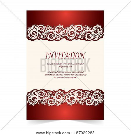 Invitation card Wedding card with ornament on ivory and red background