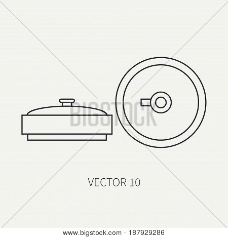 Line flat vector military icon - anti-tank mine. Army equipment and weapons. Cartoon style. Army. Assault. Soldiers. Armament. Ammunition. Vector illustration and element for your design , wallpaper.