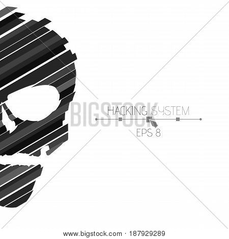 Hacking hacking system. Half of the skull sideways on a white background. The destroyed skull from the black strips. The effect of destruction. Abstract vector illustration. EPS 8