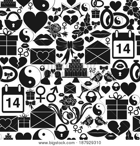 Seamless pattern St. Valentines Day. Dense ornament of monochrome icons. Vector illustration