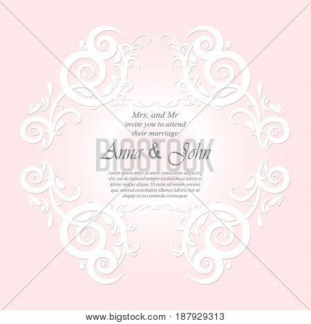 Invitation card Wedding card with ornament on pink background