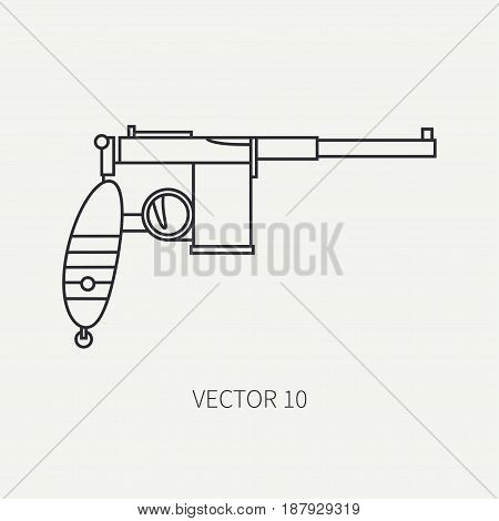 Line flat vector military icon - pistol. Army equipment and weapons. Cartoon style. Army. Assault. Soldiers. Armament. Ammunition. Retro. Vector illustration and element for your design , wallpaper
