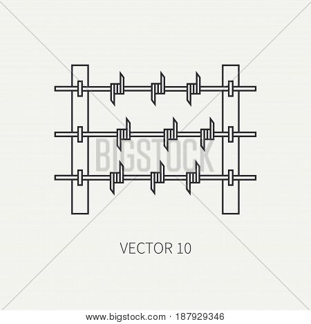 Line flat vector military icon - barbed wire. Army equipment and weapons. Cartoon style. Army. Assault. Soldiers. Armament. Ammunition. Vector illustration and element for your design , wallpaper.