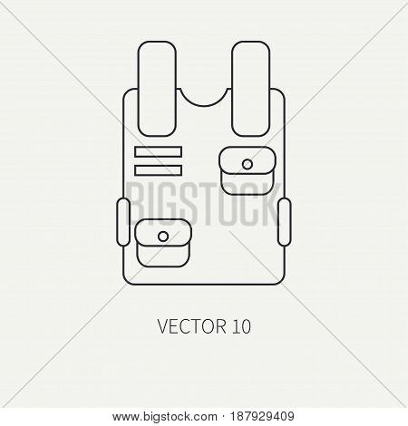 Line flat vector military icon bulletproof vest. Army equipment and weapons. Cartoon style. Army. Assault. Soldiers. Armament. Ammunition. Vector illustration and element for your design , wallpaper.