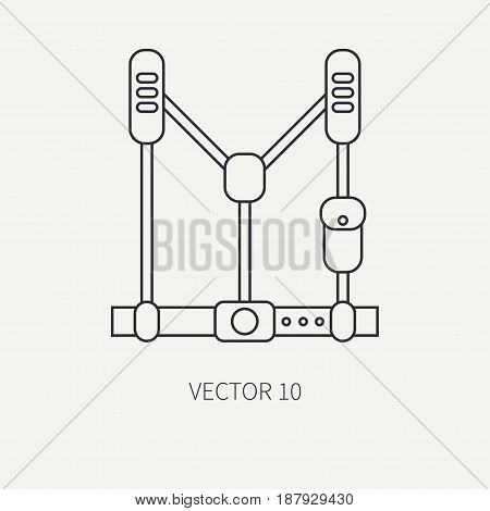 Line flat vector military icon - army discharge. Army equipment and weapons. Cartoon style. Army. Assault. Soldiers. Armament. Ammunition. Vector illustration and element for your design , wallpaper.